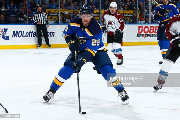 Vince Dunn of the St Louis Blues handles the puck against the Colorado Avalanche at Scottrade Center on February 8 2018 in St Louis Missouri