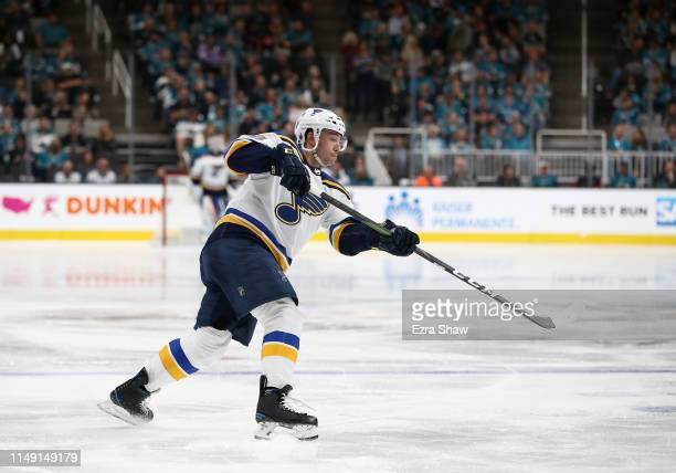 Vince Dunn of the St. Louis Blues in action against the San Jose Sharks in Game Two of the Western Conference Final during the 2019 NHL Stanley Cup...
