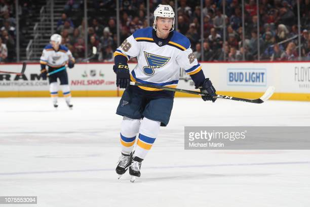 Vince Dunn of the St Louis Blues skates against the Colorado Avalanche at the Pepsi Center on November 30 2018 in Denver Colorado The Blues defeated...