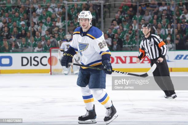 Vince Dunn of the St. Louis Blues skates against the Dallas Stars in Game Three of the Western Conference Second Round during the 2019 NHL Stanley...