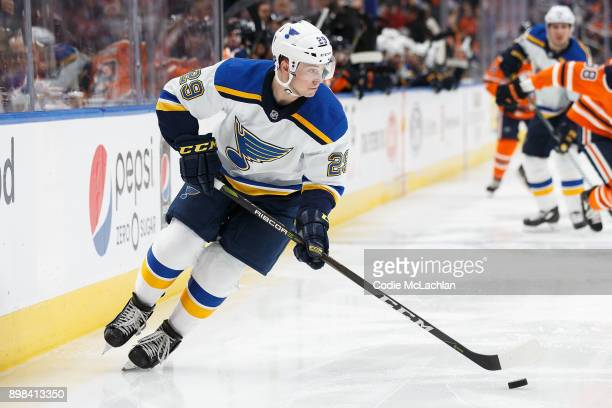 Vince Dunn of the St Louis Blues skates against the Edmonton Oilers at Rogers Place on December 21 2017 in Edmonton Canada