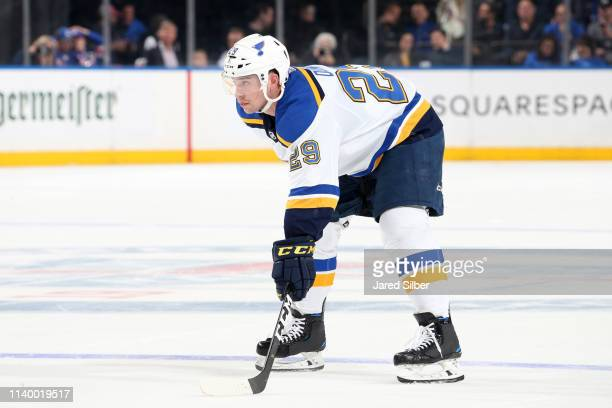 Vince Dunn of the St Louis Blues skates against the New York Rangers at Madison Square Garden on March 29 2019 in New York City