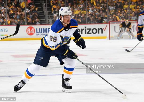 Vince Dunn of the St Louis Blues skates against the Pittsburgh Penguins at PPG Paints Arena on October 4 2017 in Pittsburgh Pennsylvania