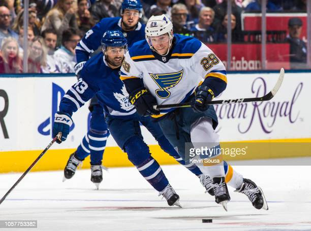 Vince Dunn of the St. Louis Blues skates with the puck against the Toronto Maple Leafs during the third period at the Scotiabank Arena on October 20,...