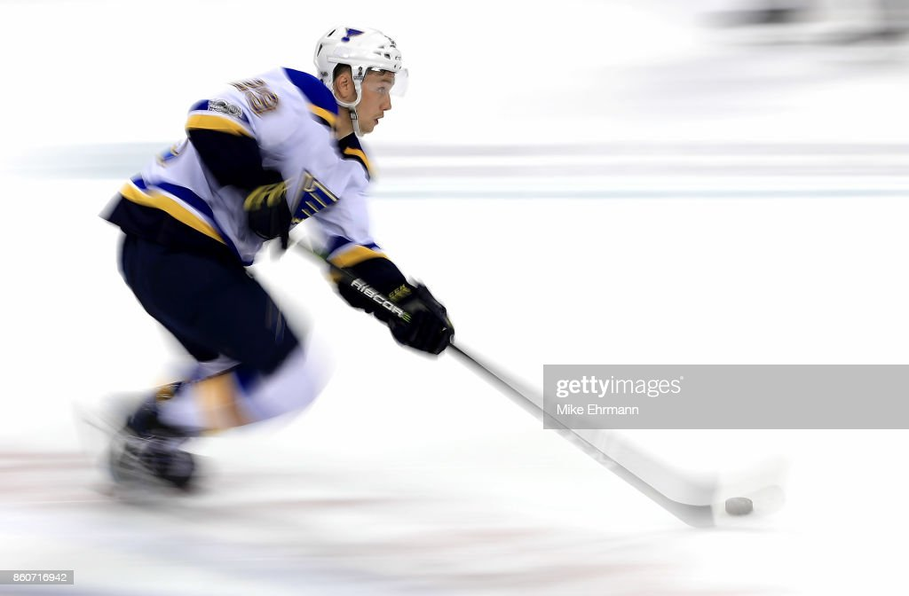 Vince Dunn #29 of the St. Louis Blues skates with the puck during a game against the Florida Panthers at BB&T Center on October 12, 2017 in Sunrise, Florida.