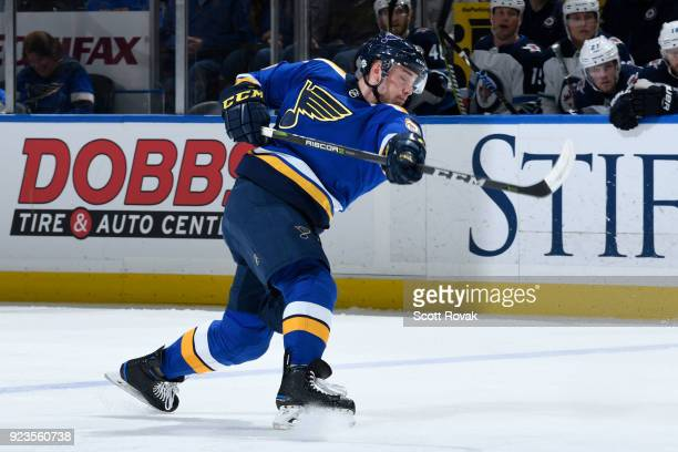 Vince Dunn of the St Louis Blues takes a shot against the Winnipeg Jets at Scottrade Center on February 23 2018 in St Louis Missouri
