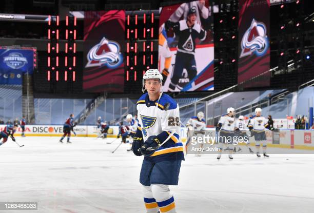 Vince Dunn of the St. Louis Blues warms up before a Round Robin game against the Colorado Avalanche during the 2020 NHL Stanley Cup Playoff at Rogers...