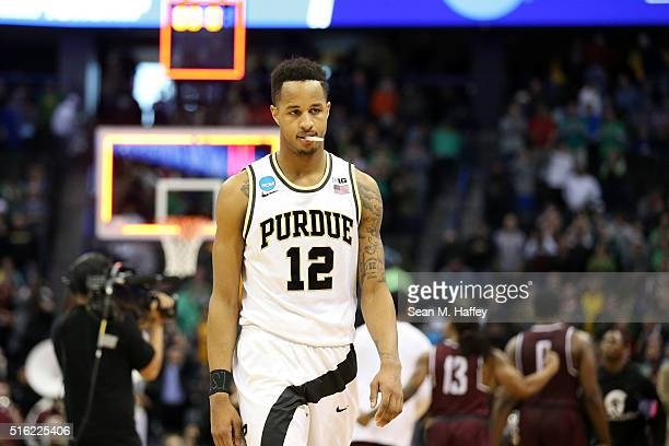Vince Edwards of the Purdue Boilermakers walks off the court after losing 8583 to Arkansas Little Rock Trojans during the first round of the 2016...