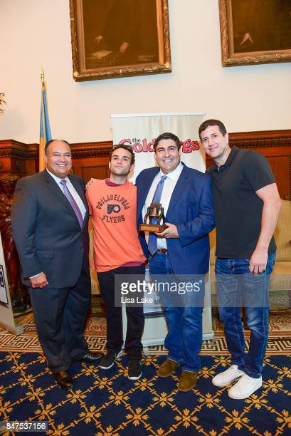 Vince Giannini Troy Gentile and Doug Robinson pose with Producer Adam F Goldberg during an event honoring Goldberg at Philadelphia City Hall on...