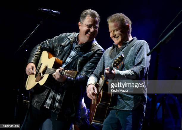 Vince Gil and Don Henley perform onstage with The Eagles during The Classic West at Dodger Stadium on July 15, 2017 in Los Angeles, California.