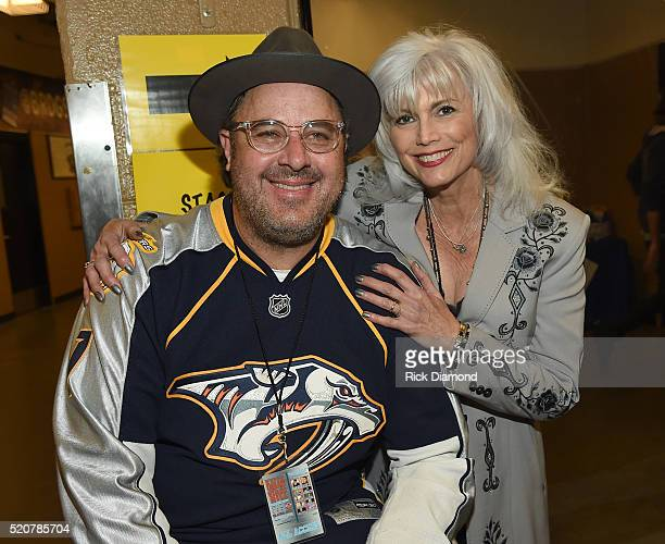 Vince Gill and Emmylou Harris attend All For The Hall at the Bridgestone Arena on April 12 2016 in Nashville Tennessee