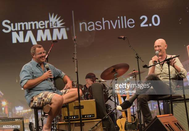 Vince Gill chats with Michael Rhodes during Vince Gill Hosts 'Insight Iconic Artists And The Gear That Inspires Them' To Kick Off Summer NAMM July...