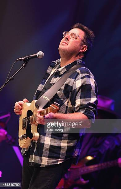 Vince Gill performs on stage during The Life Songs of Emmylou Harris An All Star Concert Celebration at DAR Constitution Hall on January 10 2015 in...