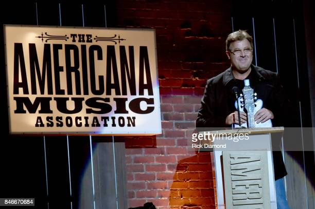 Vince Gill speaks onstage during the 2017 Americana Music Association Honors Awards on September 13 2017 in Nashville Tennessee