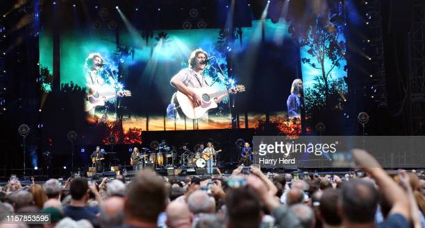 Vince Gill Timothy B Schmit Don Henley Deacon Frey and Joe Walsh perform onstage at Wembley Stadium on June 23 2019 in London England