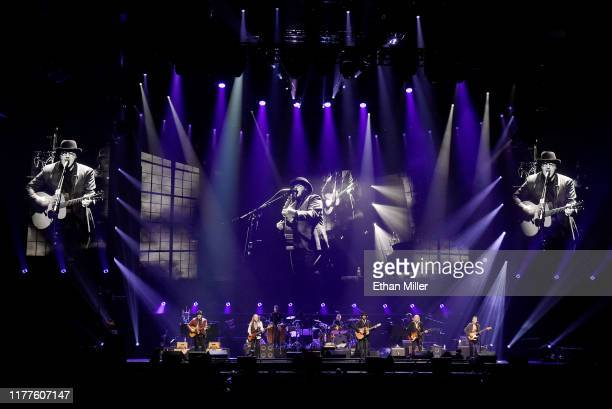 Vince Gill Timothy B Schmit Don Henley Deacon Frey Joe Walsh and Steuart Smith of the Eagles perform at MGM Grand Garden Arena on September 27 2019...