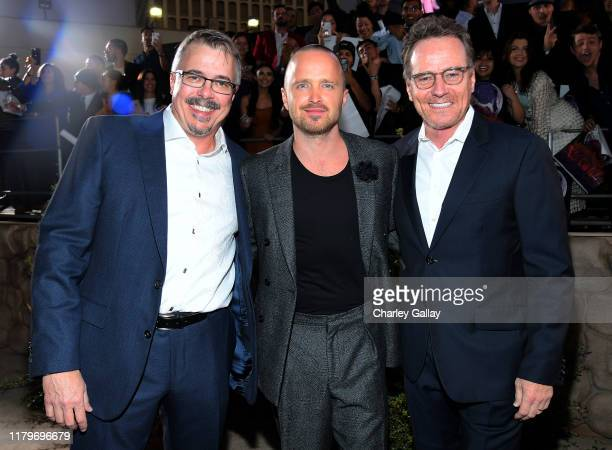 Vince Gilligan Aaron Paul and Bryan Cranston attend the World Premiere of El Camino A Breaking Bad Movie at the Regency Village on October 07 2019 in...