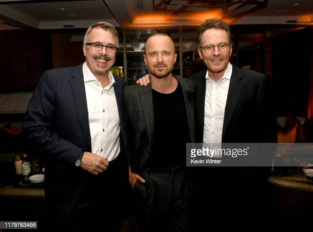 Vince Gilligan Aaron Paul and Bryan Cranston pose at the after party for the premiere of Netfflix's El Camino A Breaking Bad Movie at Baltaire on...