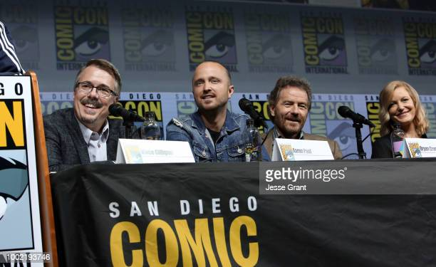 Vince Gilligan Aaron Paul Bryan Cranston and Anna Gunn attend the Breaking Bad 10th Anniversary Celebration with AMC during ComicCon International...