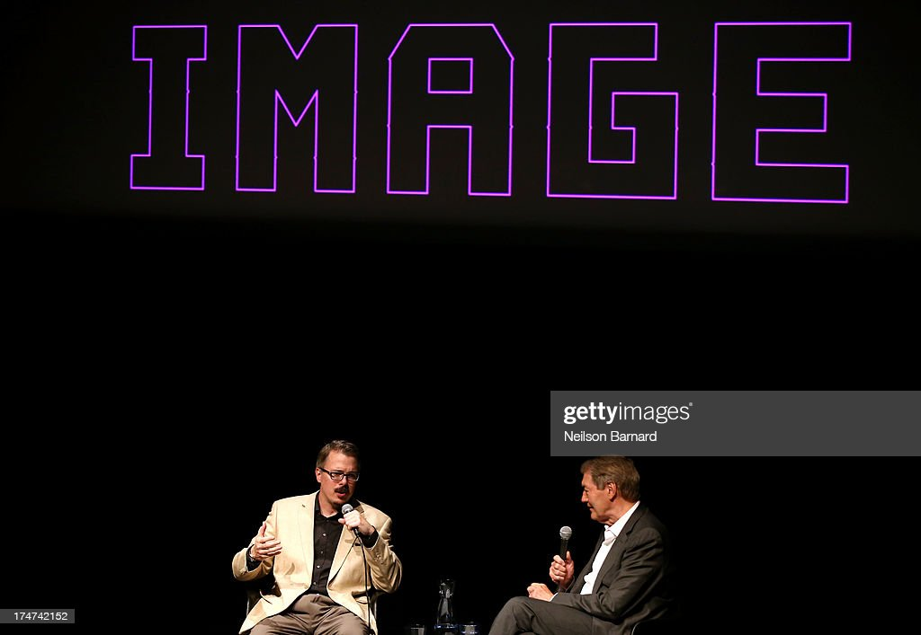 Vince Gilligan and Charlie Rose onstage during Making Bad: An Evening with Vince Gilligan at Museum of Moving Image on July 28, 2013 in New York City.