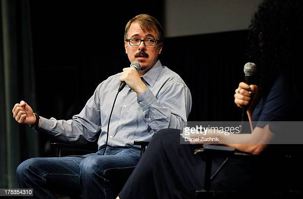 Vince Gilligan and Emily Nussbaum attend the 'Breaking Bad' Panel Discussion at The Film Society of Lincoln Center on August 2 2013 in New York City