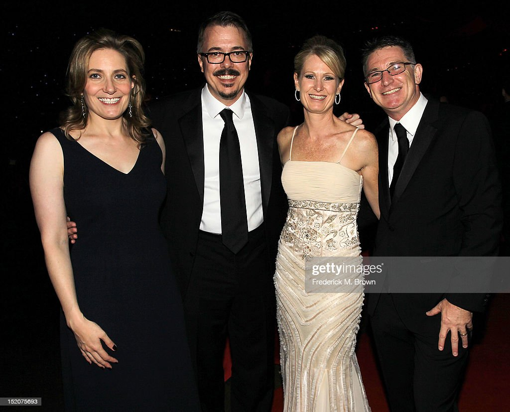 Vince Gilligan (C) and his guests attend The Academy Of Television Arts & Sciences 2012 Creative Arts Emmy Awards' Governors Ball at the Los Angeles Convention Center on September 15, 2012 in Los Angeles, California.
