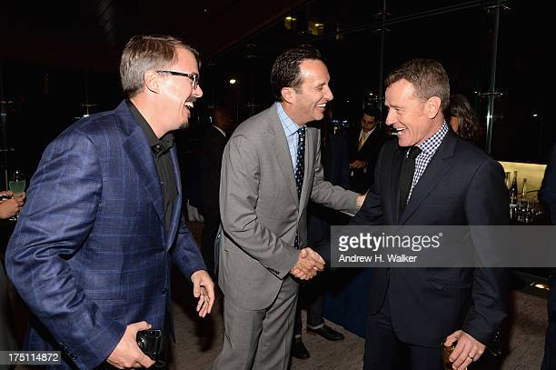 Vince Gilligan Charlie Collier and Bryan Cranston attend the 'Breaking Bad' NY Premiere 2013 after party at Lincoln Ristorante on July 31 2013 in New...