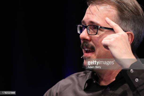 Vince Gilligan creator of the television series 'Breaking Bad' speaks at the 'Meet The Author' event at the Apple Store Berlin on August 27 2013 in...