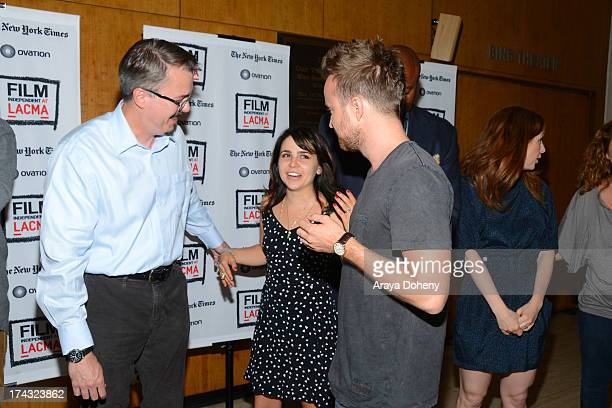 Vince Gilligan Mae Whitman and Aaron Paul at the Film Independent at LACMA presents live read of Breaking Bad directed by Jason Reitman at Bing...