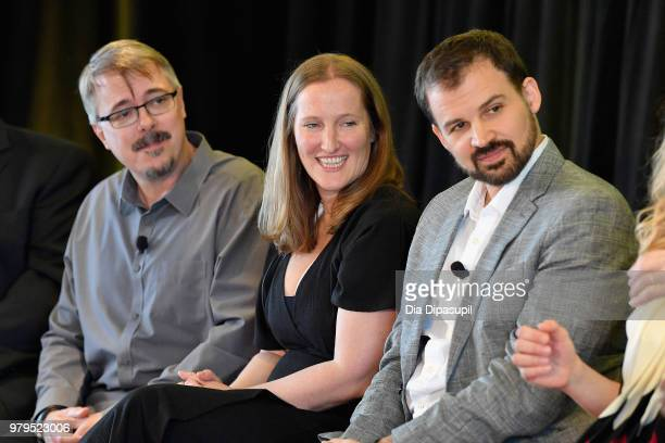 Vince Gilligan Melissa Bernstein and Gordon Smith speak onstage during the 'Masterclass With Better Call Saul' Panel at the AMC Summit at Public...