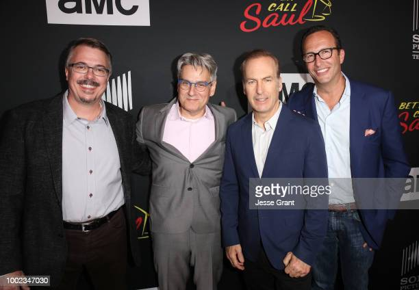Vince Gilligan, Peter Gould, Bob Odenkirk and Charlie Collier attend AMC's 'Better Call Saul' Premiere during Comic Con 2018 at UA Horton Plaza on...