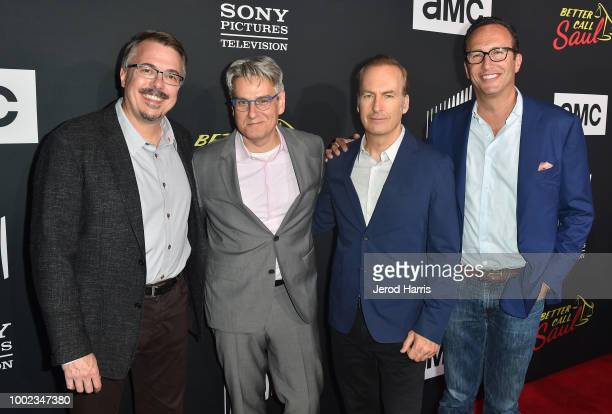 Vince Gilligan Peter Gould Bob Odenkirk and Charlie Collier attend AMC's 'Better Call Saul' Season 4 Premiere at UA Horton Plaza 8 on July 19 2018 in...