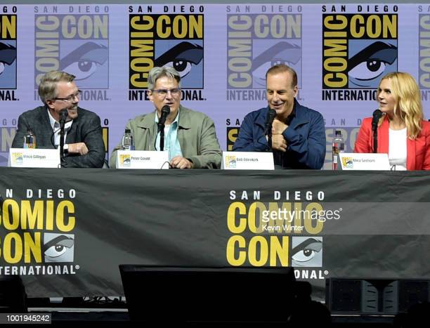 Vince Gilligan Peter Gould Bob Odenkirk and Rhea Seehorn speak onstage during the 'Breaking Bad' 10th Anniversary Celebration during ComicCon...