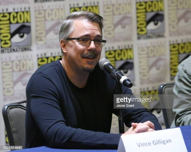 Vince Gilligan speaks during the 'Better Call Saul' press conference during Comic Con 2018 at Hilton Bayfront on July 19 2018 in San Diego California