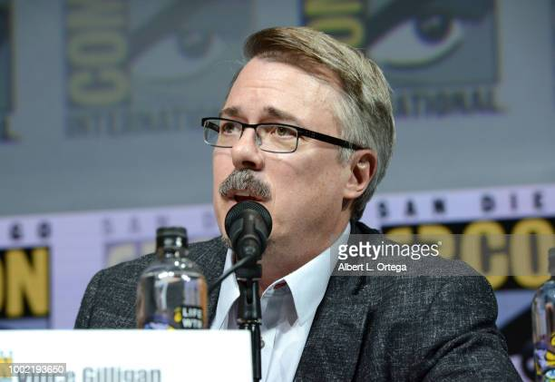 Vince Gilligan speaks onstage during the 'Breaking Bad' 10th Anniversary Celebration during ComicCon International 2018 at San Diego Convention...
