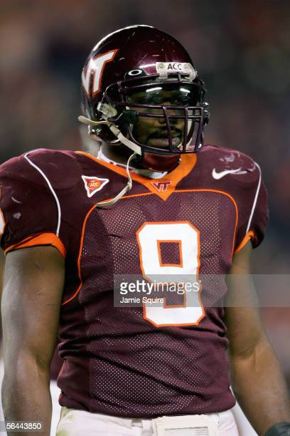 Vince Hall of the Virginia Tech Hokies stands on the field during the game against the North Carolina Tar Heels on November 26 2005 at Lane...