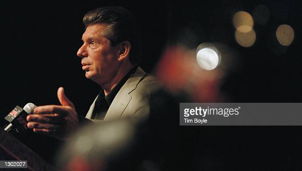 Vince K McMahon CoFounder of World Wrestling Federation Entertainment Inc addresses the media June 13 2000 in Chicago WWF Entertainment officials...