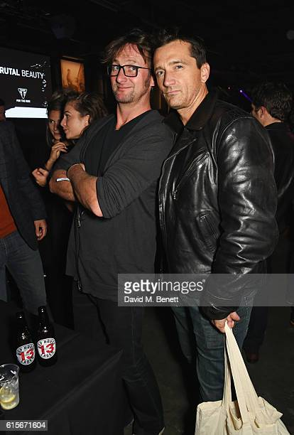 Vince Leigh and Graham Bell attend the Global VIP Reveal of the new Triumph Bonneville Bobber on October 19 2016 in London England