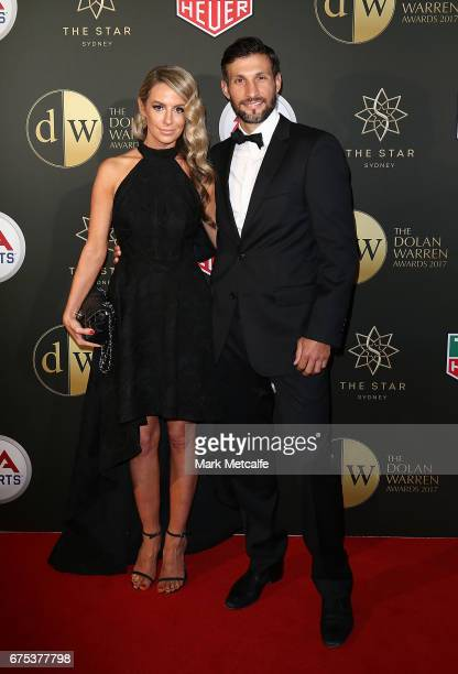 Vince Lia and Elisha Nicolazzo arrive ahead of the FFA Dolan Warren Awards at The Star on May 1 2017 in Sydney Australia