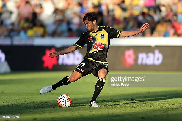 Vince Lia of the Phoenix controls the ball during the round 13 ALeague match between the Central Coast Mariners and the Wellington Phoenix at Central...