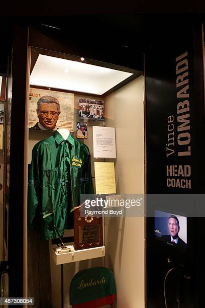 Vince Lombardi display encased at the Green Bay Packers 'Hall Of Fame' inside the Lambeau Field atrium on August 31 2015 in Green Bay Wisconsin