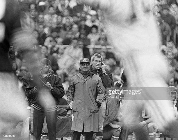 Vince Lombardi Hall of Fame head coach and general manager of the Washington Redskins watches the action on the sideline during the Redskins 2828 tie...