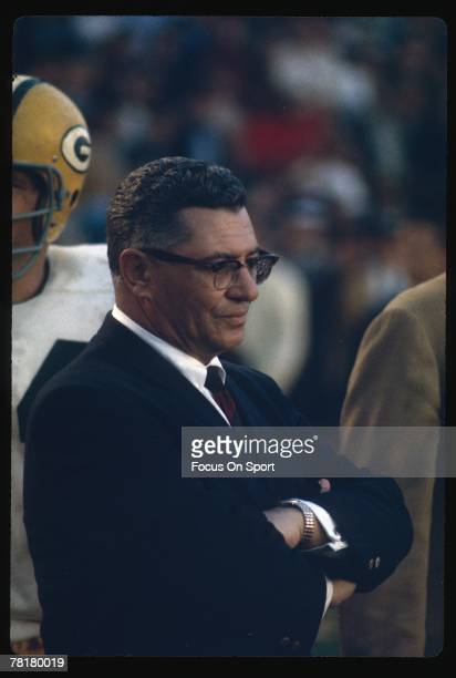 Vince Lombardi head coach of the Green Bay Packers coaches from the sidelines against the Oakland Raiders in Super Bowl II on January 14 1968 at the...