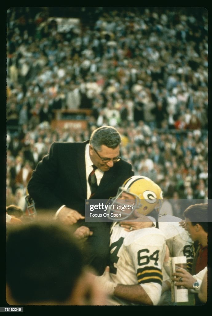 Vince Lombardi, head coach of the Green Bay Packers is carried off the field after the Packers beat the Oakland Raiders in Super Bowl II on January 14, 1968 at the Orange Bowl in Miami, Florida. The Packers defeated the Raiders 33-14.