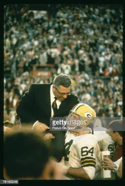 Vince Lombardi head coach of the Green Bay Packers is carried off the field after the Packers beat the Oakland Raiders in Super Bowl II on January 14...