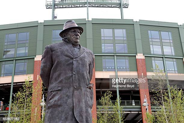 Vince Lombardi statue sits in Harlan Plaza at Lambeau Field home of the Green Bay Packers football team on August 16 2014 in Green Bay Wisconsin