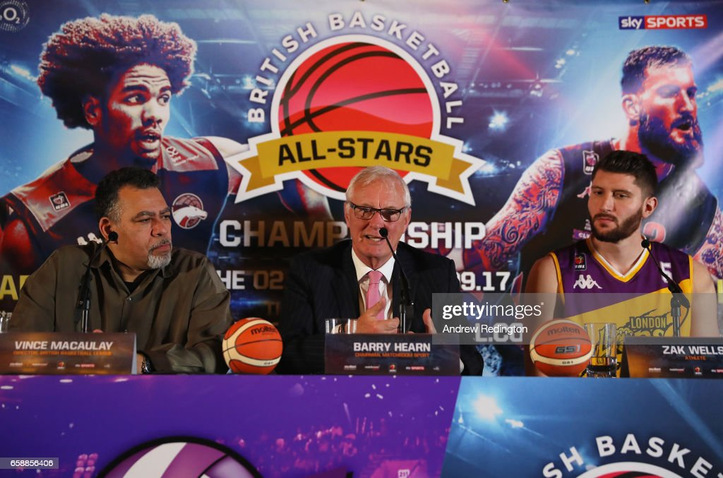 Vince Macaulay (Director British Basketball League); Barry Hearn (Chairman Matchroom Sport) and Zak Welles (London Lions) are pictured during an announcement by Barry Hearn and Matchroom Sport on March 28, 2017 at the O2 in London, England.