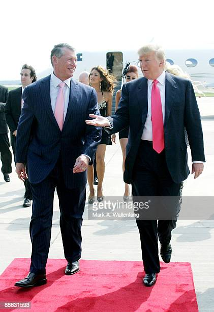 Vince McMahon and Donald Trump attend a press conference about the WWE at the Austin Straubel International Airport on June 22 2009 in Green Bay...