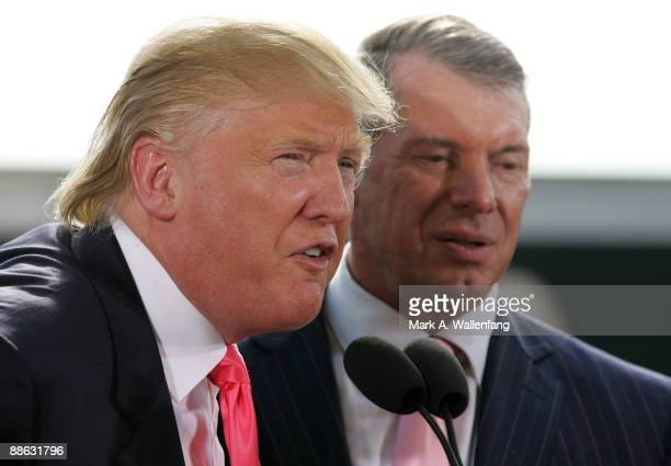Vince McMahon and Donald Trump attend a press conference about the WWE at the Austin Straubel International Airport on June 22, 2009 in Green Bay,...