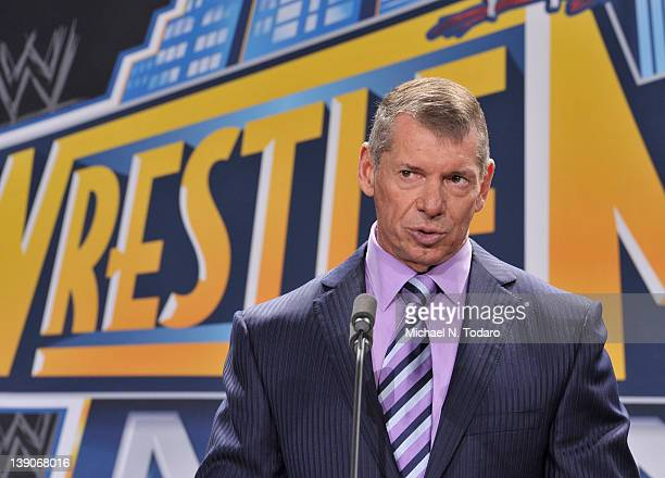 Vince McMahon attends a press conference to announce that WWE Wrestlemania 29 will be held at MetLife Stadium in 2013 at MetLife Stadium on February...